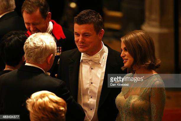 Brian O'Driscoll and Amy Huberman attend a State Banquet in honour of the President of Ireland Michael D Higgins on April 8 2014 in Windsor England...