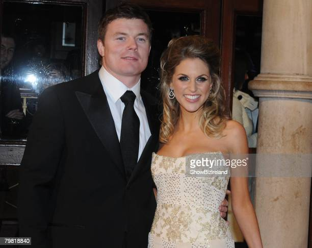 Brian O'Driscoll and Amy Huberman attend the IFTA Awards 2008 at the Gaiety Theatre on February 17 2008 in Dublin Ireland