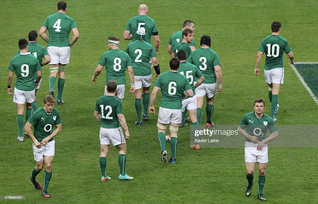 Brian O'Driscoll (R) and team-matte during the RBS 6 Nations match between France and Ireland at Stade de France on march 15, 2014 in Paris, France.
