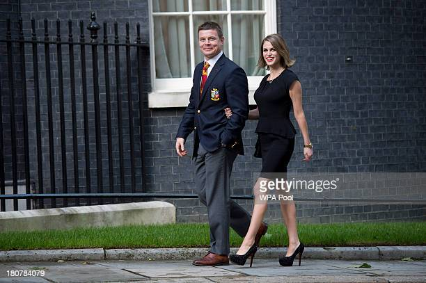Brian O'Driscoll and wife Amy Huberman attend an official reception at Downing Street on September 16 2013 in London England The reception was to...