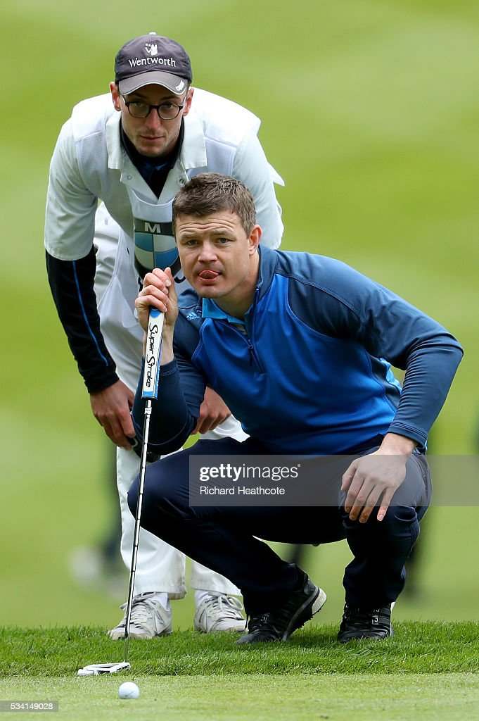 <a gi-track='captionPersonalityLinkClicked' href=/galleries/search?phrase=Brian+O%27Driscoll&family=editorial&specificpeople=194745 ng-click='$event.stopPropagation()'>Brian O'Driscoll</a> lines up during the Pro-Am prior to the BMW PGA Championship at Wentworth on May 25, 2016 in Virginia Water, England.
