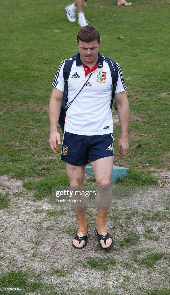 Brian O'Driscoll, looks dejected after being dropped by the Lions for the third and final test against the Wallabies as he walks onto the pitch during a British & Irish Lions training session held at the Noosa Dolphins Rugby Club on July 3, 2013 in Noosa, Australia.
