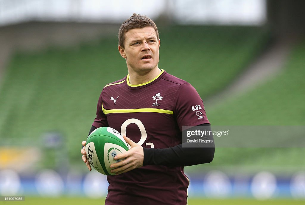 <a gi-track='captionPersonalityLinkClicked' href=/galleries/search?phrase=Brian+O%27Driscoll&family=editorial&specificpeople=194745 ng-click='$event.stopPropagation()'>Brian O'Driscoll</a> looks on during the Ireland captain's run at the Aviva Stadium on February 9, 2013 in Dublin, Ireland.