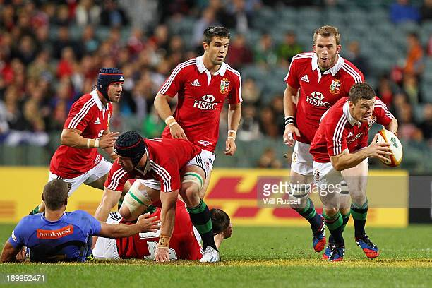 Brian O'Driscoll of British Irish Lions breaks the line during the tour match between the Western Force and the British Irish Lions at Patersons...