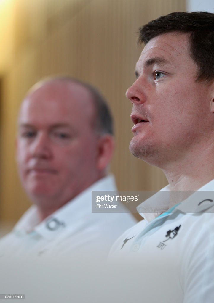 <a gi-track='captionPersonalityLinkClicked' href=/galleries/search?phrase=Brian+O%27Driscoll&family=editorial&specificpeople=194745 ng-click='$event.stopPropagation()'>Brian O'Driscoll</a> of Ireland (R) and head coach <a gi-track='captionPersonalityLinkClicked' href=/galleries/search?phrase=Declan+Kidney&family=editorial&specificpeople=626890 ng-click='$event.stopPropagation()'>Declan Kidney</a> (L) hold a press conference at Aviva Stadium on November 18, 2010 in Dublin, Ireland.