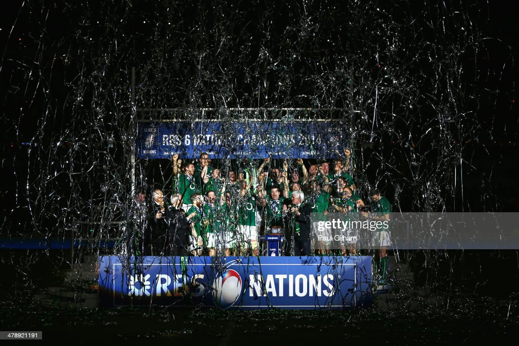 Brian O'Driscoll (C) of Ireland celebrates with his team-mates as they lift the trophy after winning the six nations championship with a 22-20 victory over France during the RBS Six Nations match between France and Ireland at Stade de France on March 15, 2014 in Paris, France.