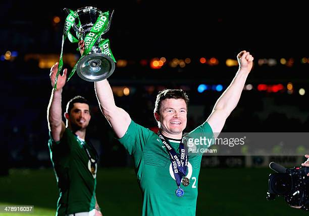 Brian O'Driscoll of Ireland celebrates with the trophy after winning the six nations championship with a 2220 victory over France during the RBS Six...