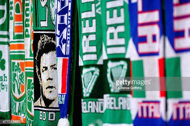 Brian O'Driscoll of Ireland is seen on scarves being sold outside of the stadium prior to the RBS Six Nations match between Ireland and Italy at...