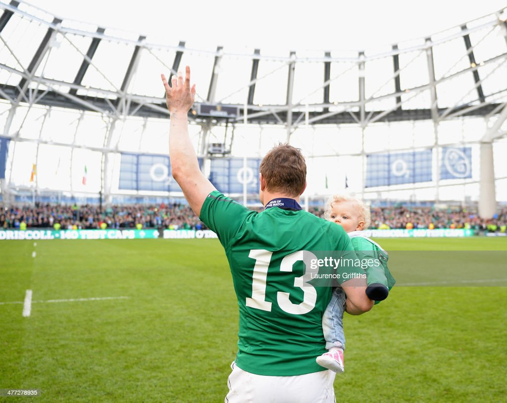 <a gi-track='captionPersonalityLinkClicked' href=/galleries/search?phrase=Brian+O%27Driscoll&family=editorial&specificpeople=194745 ng-click='$event.stopPropagation()'>Brian O'Driscoll</a> of Ireland waves farewell to the fans after his last home appearance the RBS Six Nations match between Ireland and Italy at Aviva Stadium on March 8, 2014 in Dublin, Ireland.