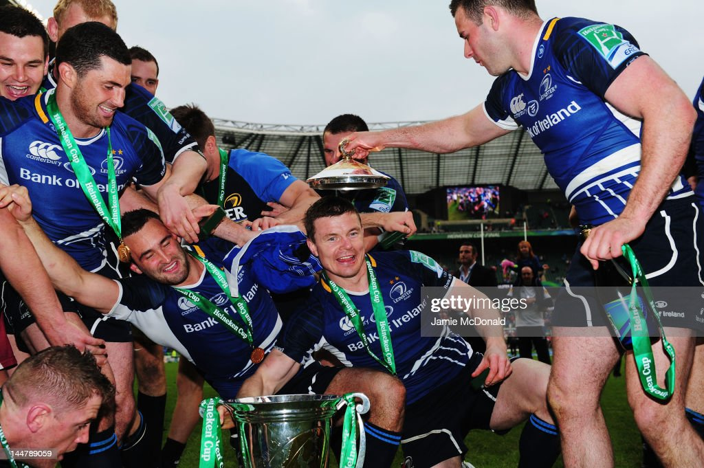 Brian O'Driscoll (C) of Leinster and team mates celebrate victory during the Heineken Cup Final between Leinster and Ulster at Twickenham Stadium on May 19, 2012 in London, United Kingdom.