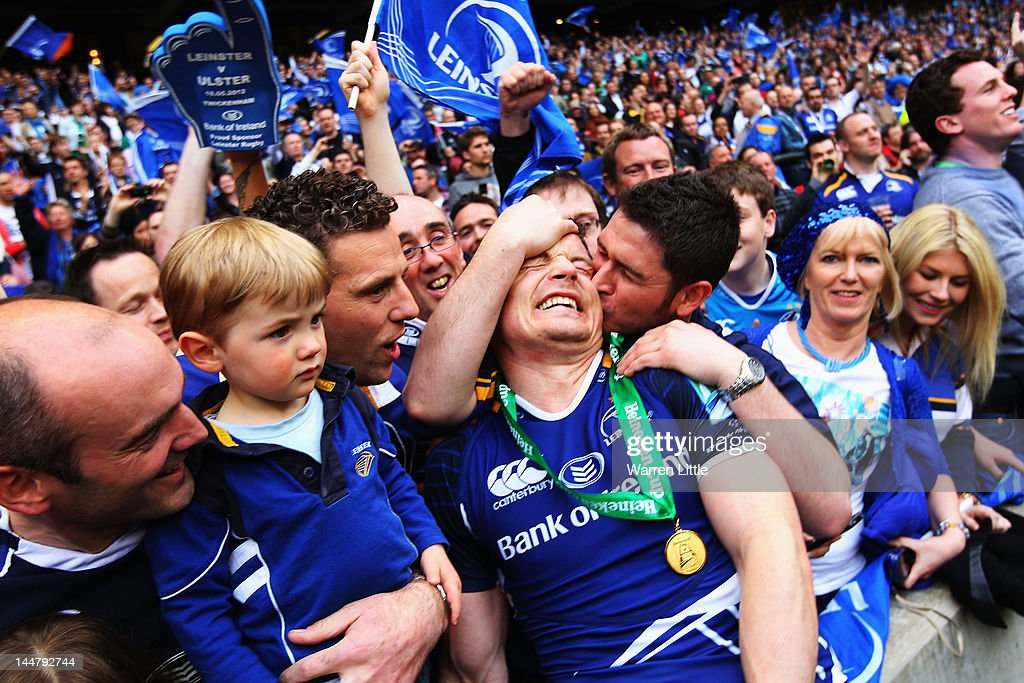 Brian O'Driscoll of Leinster is congratulated by friends and family following the Heineken Cup Final between Leinster and Ulster at Twickenham Stadium on May 19, 2012 in London, United Kingdom.