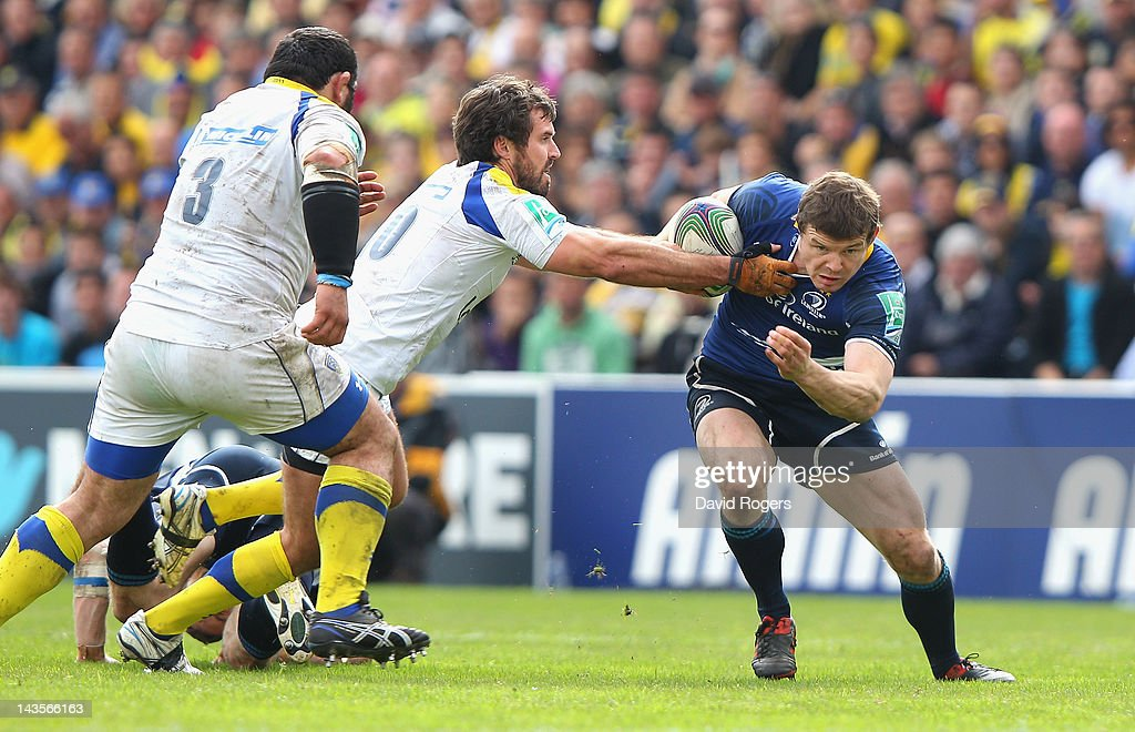 <a gi-track='captionPersonalityLinkClicked' href=/galleries/search?phrase=Brian+O%27Driscoll&family=editorial&specificpeople=194745 ng-click='$event.stopPropagation()'>Brian O'Driscoll</a> of Leinster moves past <a gi-track='captionPersonalityLinkClicked' href=/galleries/search?phrase=Brock+James&family=editorial&specificpeople=636412 ng-click='$event.stopPropagation()'>Brock James</a> during the Heineken Cup semi final match between ASM Clermont Auvergne and Leinster at Stade Chaban-Delmas on April 29, 2012 in Bordeaux, France.