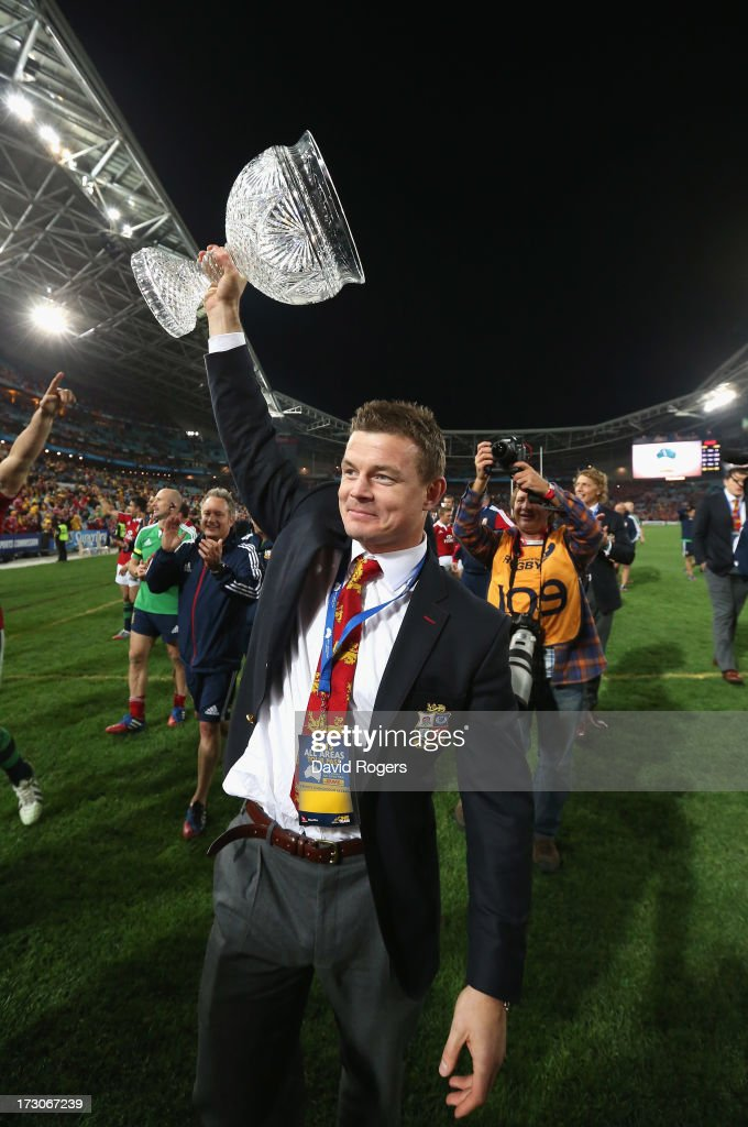 Brian O'Driscoll of the Lions raises the Tom Richards Cup after their victory during the International Test match between the Australian Wallabies and British & Irish Lions at ANZ Stadium on July 6, 2013 in Sydney, Australia.