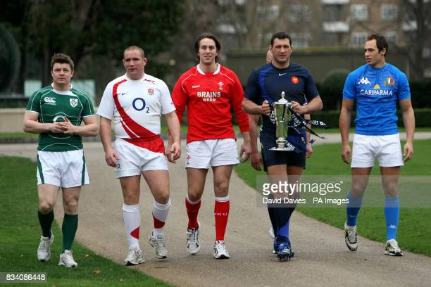 Brian O'Driscoll Phil Vickery Ryan Jones Lionel Nallet and Sergio Parisse during the RBS 6 Nations Launch at The Hurlingham Club London
