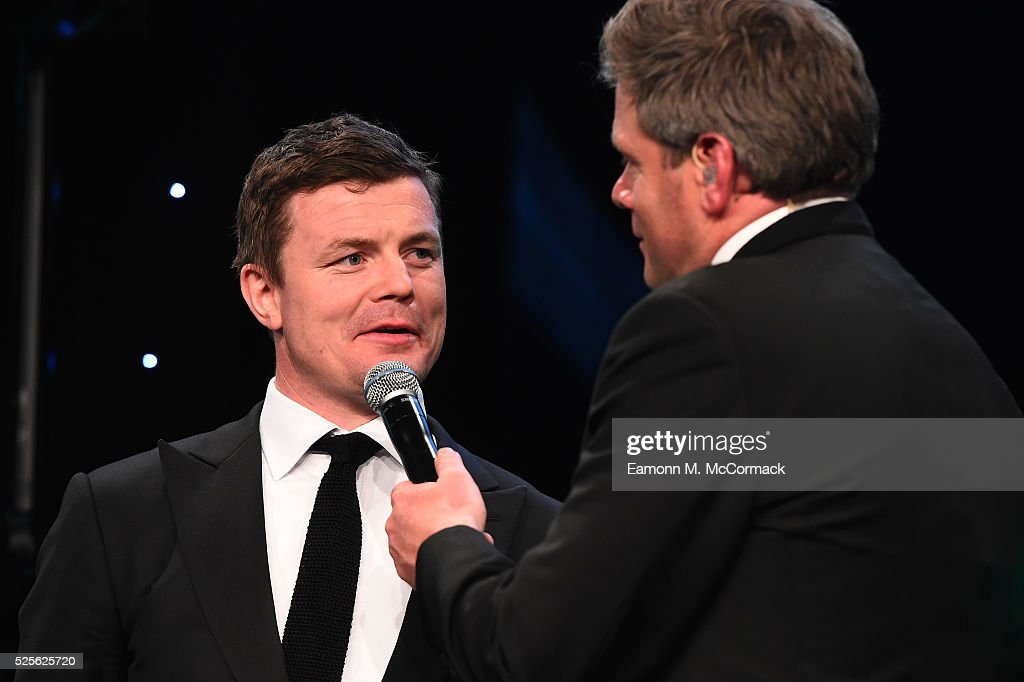 Brian O'Driscoll talks on stage with Mark Durden-Smith before presenting the Best International Marketing Campaign in association with SMG Insight to adidas Be The Difference at the BT Sport Industry Awards 2016 at Battersea Evolution on April 28, 2016 in London, England. The BT Sport Industry Awards is the most prestigious commercial sports awards ceremony in Europe, where over 1750 of the industry's key decision-makers mix with high profile sporting celebrities for the most important networking occasion in the sport business calendar.