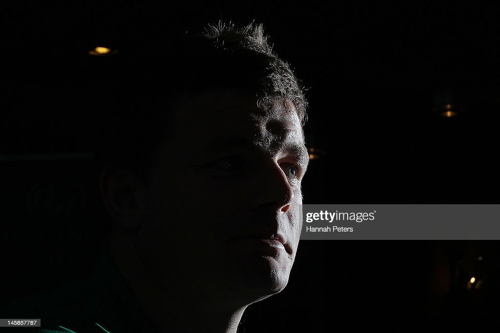 <a gi-track='captionPersonalityLinkClicked' href=/galleries/search?phrase=Brian+O%27Driscoll&family=editorial&specificpeople=194745 ng-click='$event.stopPropagation()'>Brian O'Driscoll</a> talks to the media during the Ireland rugby team announcement at the Spencer on Byron on June 7, 2012 in Auckland, New Zealand.