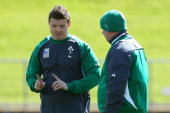 Brian O'Driscoll talks with head coach Declan Kidney during an Ireland IRB Rugby World Cup 2011 training session at Mt Smart Stadium on September 13...