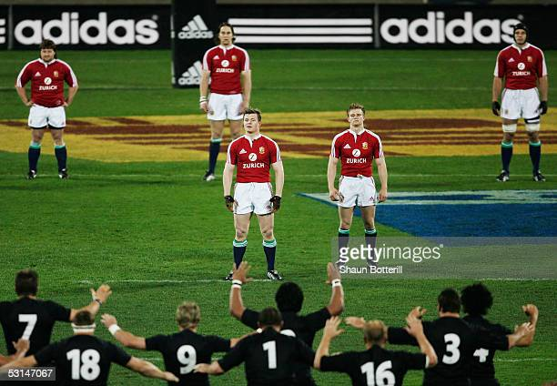 Brian O'Driscoll the Lions captain and teammates face the All Blacks Haka during the first test match between New Zealand All Blacks and British and...