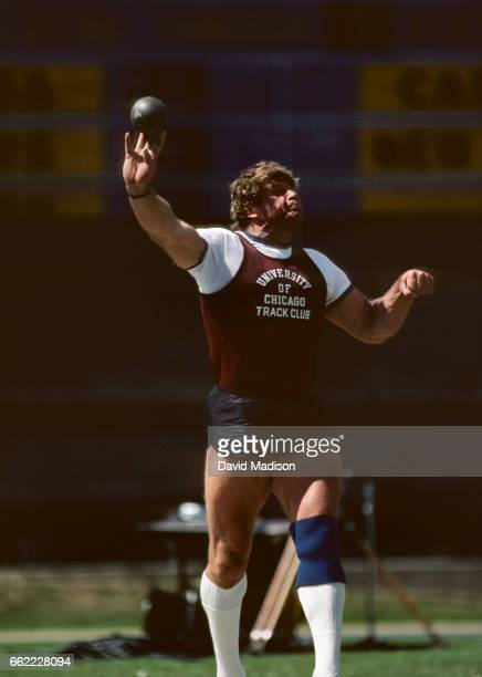 Brian Oldfield of the USA competes in the Men's Shot Put event at the Kinney Invitational Track Meet held in June 1985 at Edwards Stadium on the...