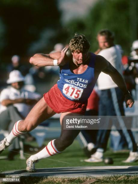 Brian Oldfield of the USA competes in the Men's Shot Put event of the 1984 USA Mobil Championship meet held in June 1984 at San Jose City College in...