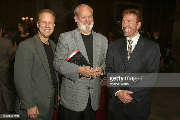 Brian Onderacek Jerry Jenkins and Chuck Norris during Chuck Norris Host's The Launch Party For Jerry Jenkins' Solo Faith Based Novel Soon The...