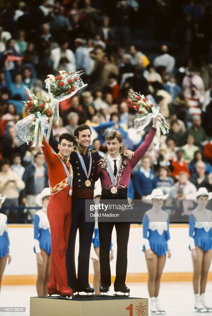 <a gi-track='captionPersonalityLinkClicked' href=/galleries/search?phrase=Brian+Orser&family=editorial&specificpeople=1138867 ng-click='$event.stopPropagation()'>Brian Orser</a> (CAN) (left), <a gi-track='captionPersonalityLinkClicked' href=/galleries/search?phrase=Brian+Boitano&family=editorial&specificpeople=961482 ng-click='$event.stopPropagation()'>Brian Boitano</a> (USA) (center) and Viktor Petrenko (URS) (right) wave to the crowd during the awards ceremony for the Men's Singles Figure Skating event of the 1988 Winter Olympic Games on February 20, 1988 at the Saddledome in Calgary, Alberta, Canada.