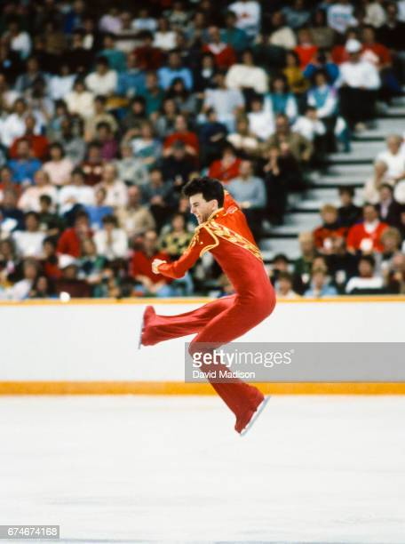 Brian Orser of Canada competes in the final of the Men's Singles Figure Skating event of the 1988 Winter Olympic Games on February 20 1988 at the...