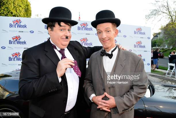 Brian Patrick Mulligan and Patrick Reid celebrity impersonators attend the launch of the Seventh Annual BritWeek Festival 'A Salute To Old Hollywood'...