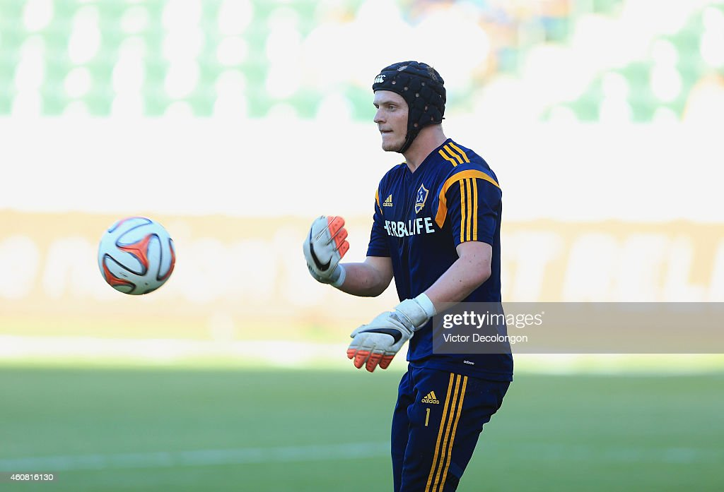 Brian Perk #1 of Los Angeles Galaxy warms up prior to their MLS match against Seattle Sounders FC at StubHub Center on October 19, 2014 in Los Angeles, California. The Sounders and Galaxy played to a 2-2 draw.