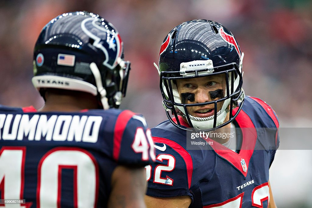 Brian Peters #52 talks with Kurtis Drummond #40 of the Houston Texans on the sidelines during a game against the New York Jets at NRG Stadium on November 22, 2015 in Houston, Texas. The Texans defeated the Jets 24-17.