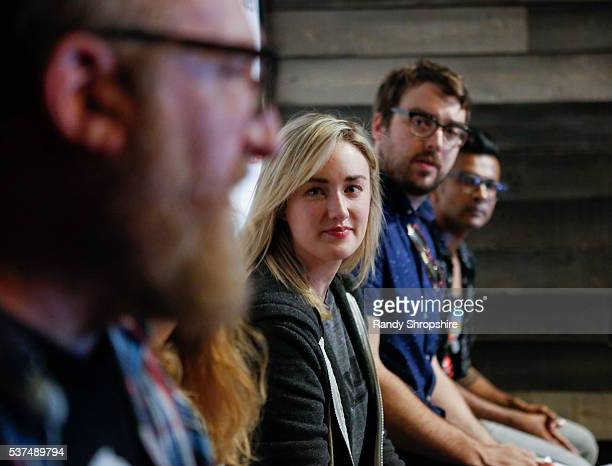 Brian Posehn Ashley Johnson Jonah Ray and Utkarsh Ambudkar attend DD Live From Meltdown Comics Comics and Collectibles on June 1 2016 in Los Angeles...
