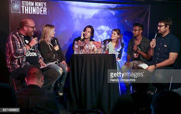 Brian Posehn Ashley Johnson Matthew Mercer Shelby Fero Utkarsh Ambudkar and Jonah Ray attend DD Live From Meltdown Comics Comics and Collectibles on...