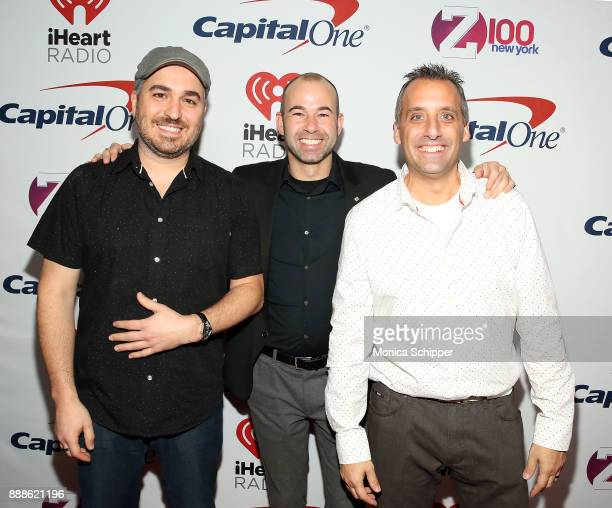 Brian 'Q' Quinn James 'Murr' Murray and Joe Gatto of Impractical Jokers attend the Z100's Jingle Ball 2017 press room on December 8 2017 in New York...