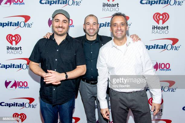 Brian 'Q' Quinn James 'Murr' Murray and Joe Gatto of Impractical Jokers attend Z100's iHeartRadio Jingle Ball 2017 at Madison Square Garden on...