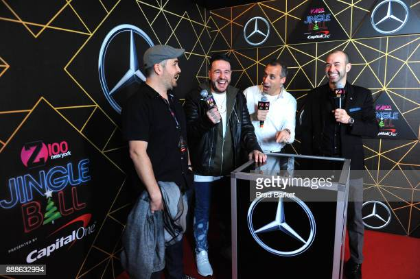 Brian 'Q' Quinn Z100's Mo' Bounce Joe Gatto and James 'Murr' Murray of Impractical Jokers attend the Z100's Jingle Ball 2017 press room on December 8...