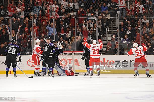 Brian Rafalski and Valtteri Filppula of the Detroit Red Wings celebrate a goal against the Los Angeles Kings on January 7 2010 at Staples Center in...