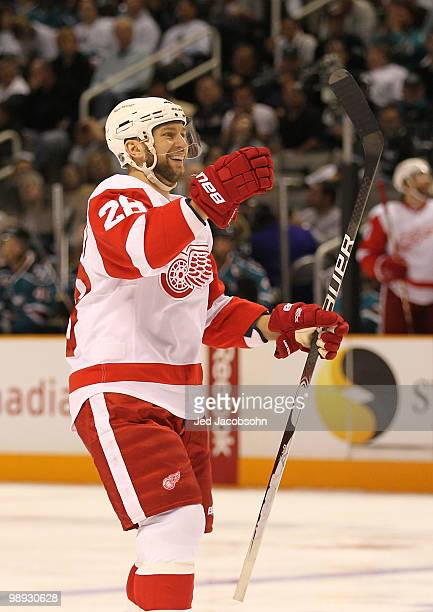Brian Rafalski of the Detroit Red Wings celebrates after scoring in the second period against the San Jose Sharks in Game Five of the Western...