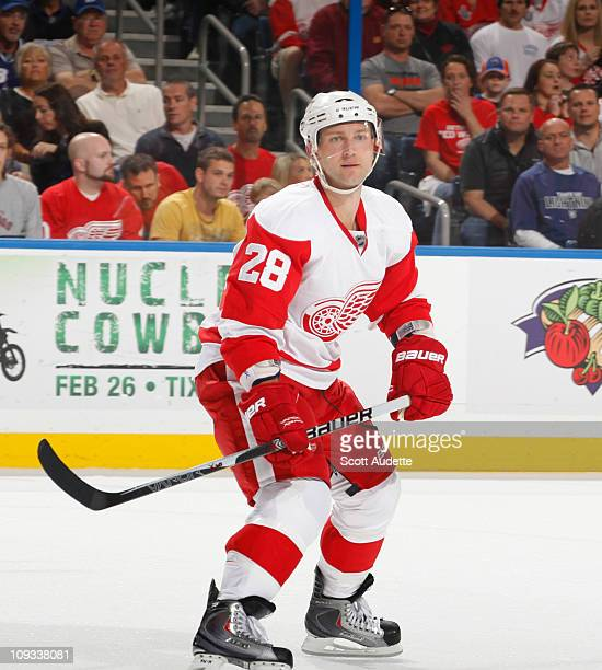 Brian Rafalski of the Detroit Red Wings defends the zone against the Tampa Bay Lightning at the St Pete Times Forum on February 17 2011 in Tampa...