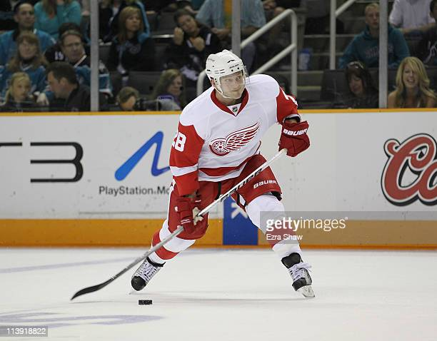 Brian Rafalski of the Detroit Red Wings in action against the San Jose Sharks in Game Two of the Western Conference Semifinals during the 2011 NHL...
