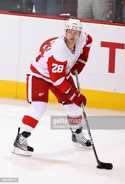 Brian Rafalski of the Detroit Red Wings warms up before Game One of the Western Conference Quarterfinals against the Phoenix Coyotes during the 2010...