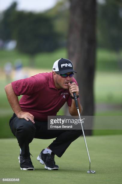 Brian Richey of the Unite States lines up a putt on the fourth green during the final round of the PGA TOUR Latinoamerica 70 Avianca Colombia Open at...