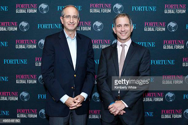 Brian Roberts and Adam Lashinsky speak on a panel during the Fortune Global Forum Day2 at the Fairmont Hotel on November 3 2015 in San Francisco...