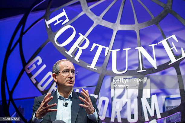 Brian Roberts chairman and chief executive officer of Comcast Corp speaks during the 2015 Fortune Global Forum in San Francisco California US on...