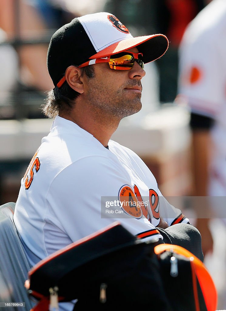 Brian Roberts #1 of the Baltimore Orioles looks on from the dugout during the Orioles opening day game against the Minnesota Twins at Oriole Park at Camden Yards on April 5, 2013 in Baltimore, Maryland.
