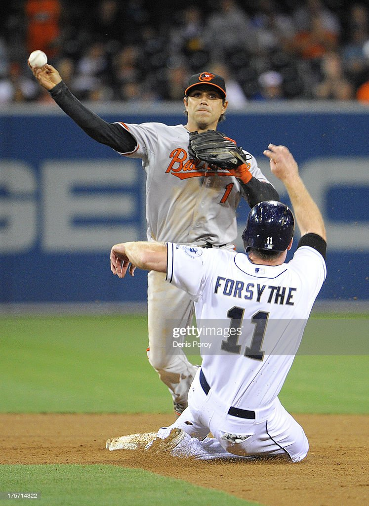 Brian Roberts #1 of the Baltimore Orioles throws over <a gi-track='captionPersonalityLinkClicked' href=/galleries/search?phrase=Logan+Forsythe&family=editorial&specificpeople=4412508 ng-click='$event.stopPropagation()'>Logan Forsythe</a> #11 of the San Diego Padres to turn a game-ending double play during the ninth inning of a baseball game at Petco Park on August 6, 2013 in San Diego, California. The Orioles won 4-1.