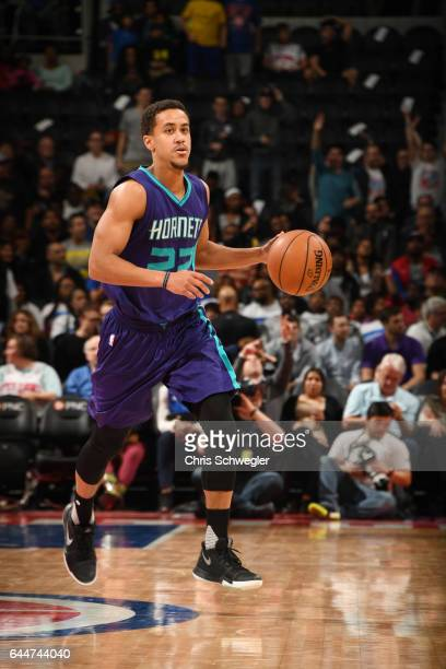 Brian Roberts of the Charlotte Hornets brings the ball up court against the Detroit Pistons during the game on February 23 2017 at The Palace of...