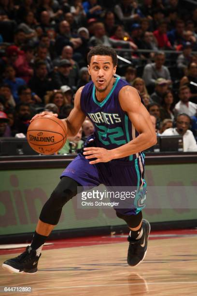 Brian Roberts of the Charlotte Hornets drives to the basket against the Detroit Pistons during the game on February 23 2017 at The Palace of Auburn...