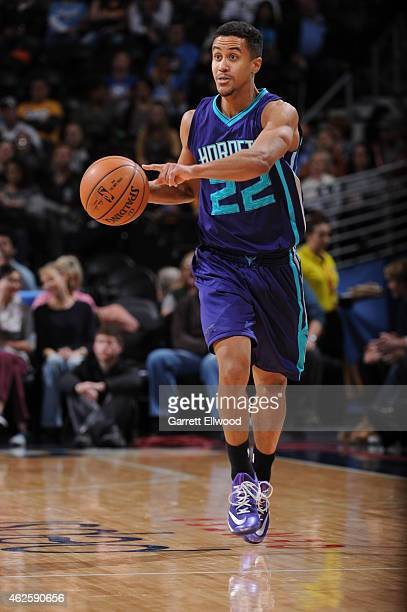 Brian Roberts of the Charlotte Hornets handles the ball against the Denver Nuggets during the game on January 31 2015 at the Pepsi Center in Denver...