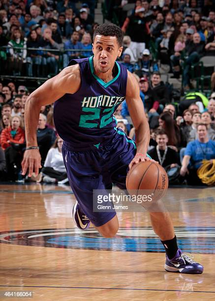 Brian Roberts of the Charlotte Hornets handles the ball against the Dallas Mavericks on February 22 2015 at the American Airlines Center in Dallas...