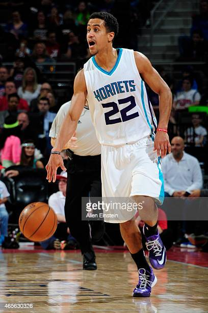Brian Roberts of the Charlotte Hornets handles the ball against the Detroit Pistons on March 8 2015 at The Palace of Auburn Hills in Auburn Hills...